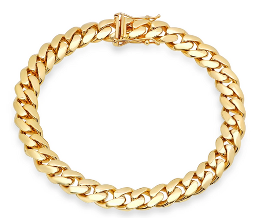"""10mm Solid Miami Cuban Link Bracelet With Box Lock - 9"""""""