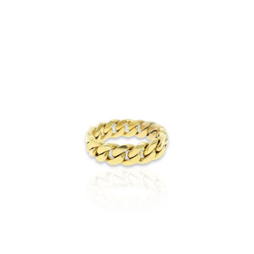 14kt Miami Cuban Link Ring - 6mm - Size 7