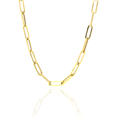 """6.5mm Hollow French Paperclip Chain - 16"""""""