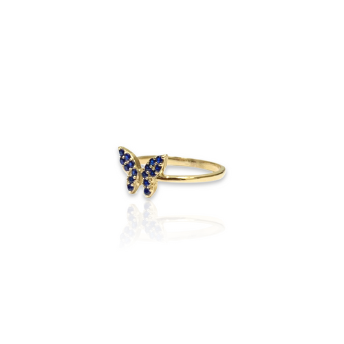 14kt Yellow Gold Ring with Butterfly Design - Dark Blue CZ Stones - Plain Band