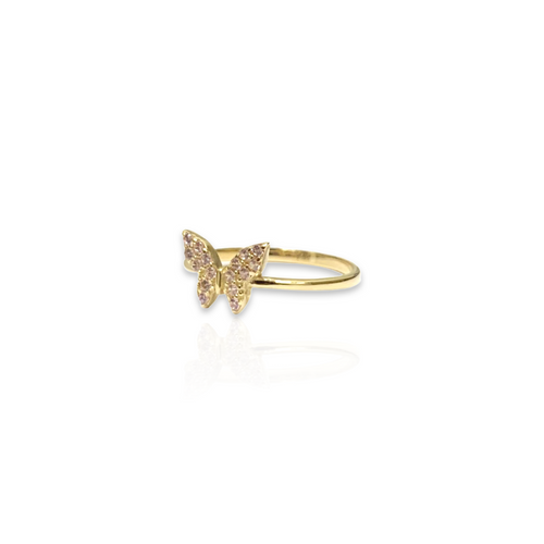 14kt Yellow Gold Ring with Butterfly Design - Light Pink CZ Stones - Plain Band