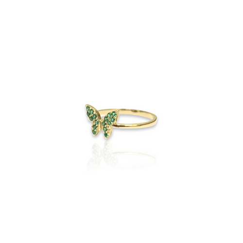 Yellow Gold Ring with Butterfly Design - Emerald Green CZ Stones - Plain Band