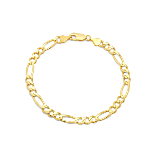 """7mm Solid Yellow Gold Figaro Bracelet - 8.5"""""""