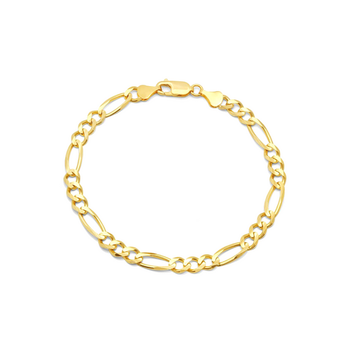 """6mm Solid Yellow Gold Figaro Bracelet - 8.5"""""""