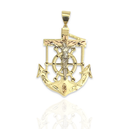 Solid 14kt Tri-Color Anchor With Satin Finish - XL
