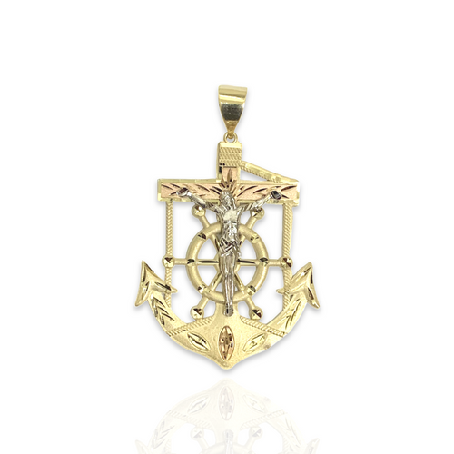 Solid 14kt Tri-Color Anchor With Satin Finish - L
