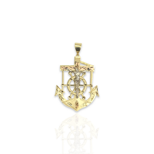 Solid 14kt Tri-Color Anchor With Satin Finish - M