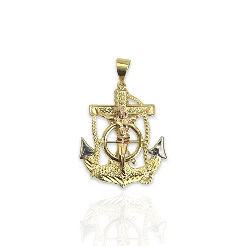 Solid 14kt Tri-Color Anchor With High Polish Finish - M