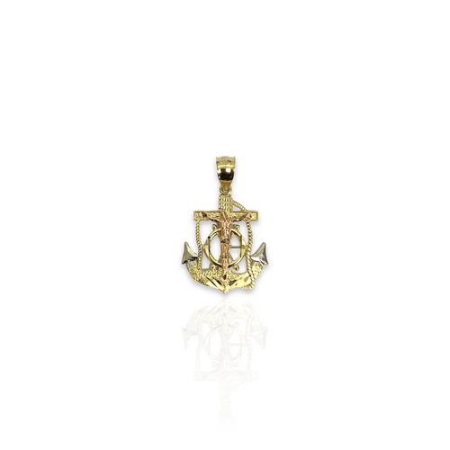 Solid 14kt Tri-Color Anchor With High Polish Finish - Micro