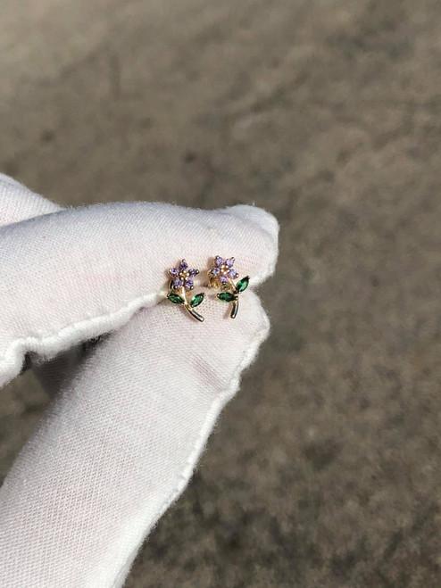 14kt CZ Flower Stud Earrings