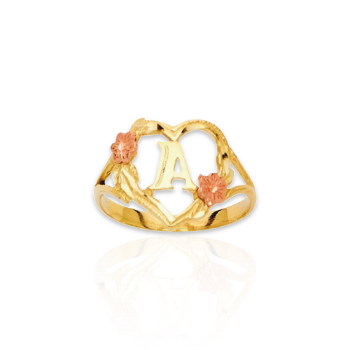 14kt Flower Heart Initial Ring - RNG3677