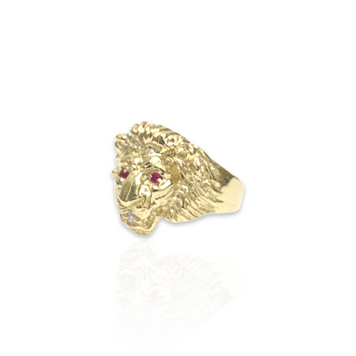 14kt Lion Head Ring With CZ - RNG-3678