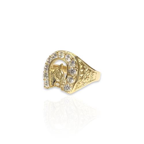 14kt Horseshoe Ring With CZ Stones
