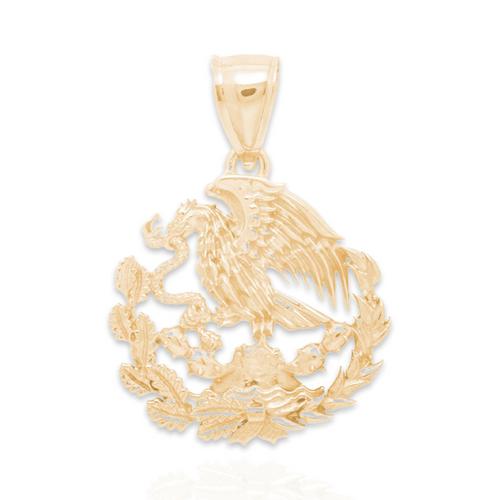 Yellow Gold Pendant - Mexican Eagle - XL - 14 K - GP108