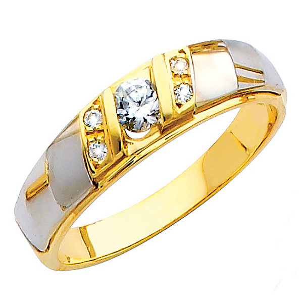Yellow & White gold wedding band with CZ. 14K  3.9 gr. - RG153