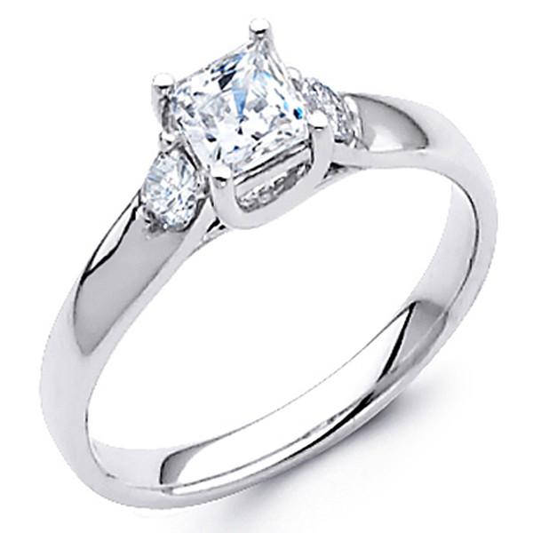 White Gold Engagement Ring - 14K - 0.72 Ct - DRG42