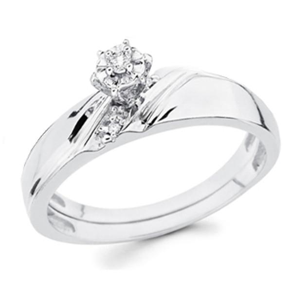 White Gold Engagement Ring 14K  0.08 Ct - DRG12E
