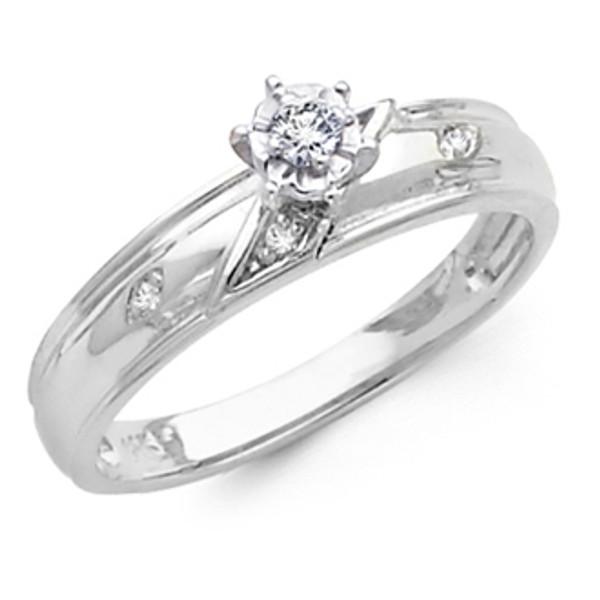 White Gold Engagement Ring  14K  0.10 Ct - DRG11E