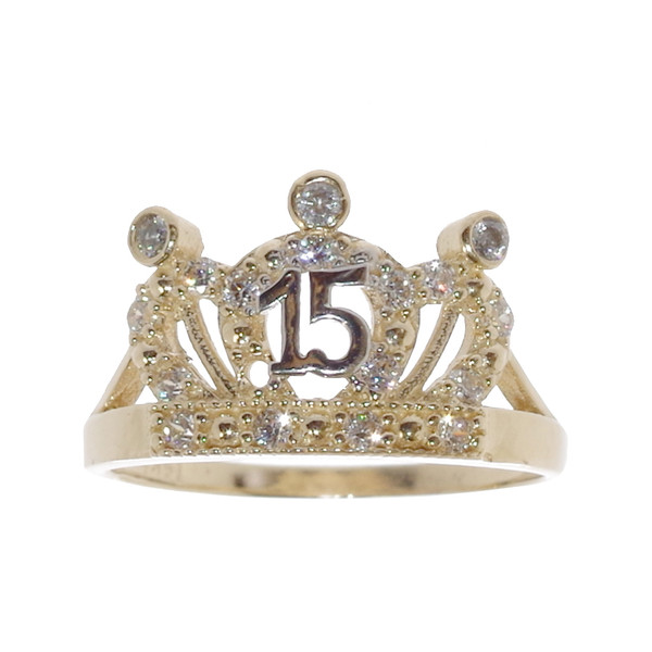 Forever 15 - Yellow Gold Ring with CZ - XVR-702