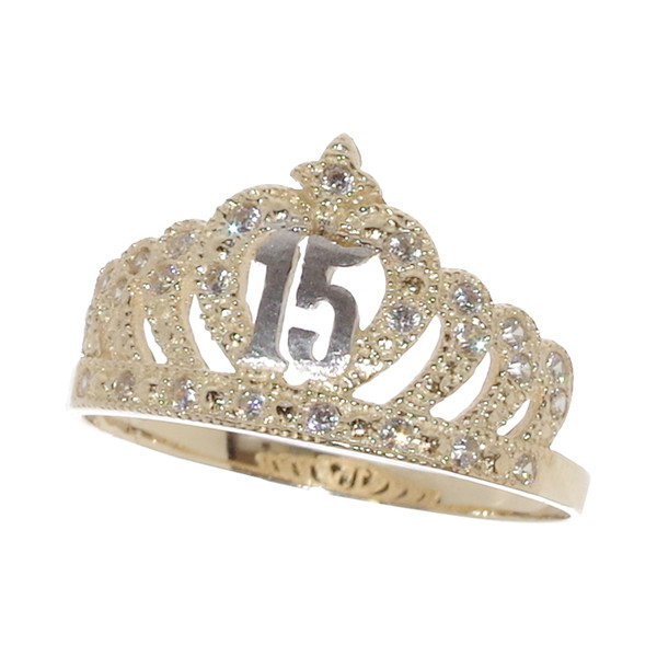 Forever 15 - Yellow & White Gold Ring with CZ - XVR-703