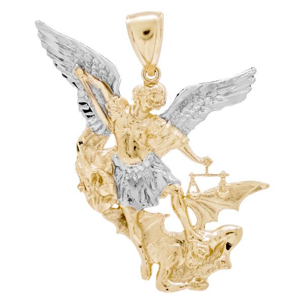 Yellow / White Gold Medal - Arcangel San Miguel - 14 K - RP165