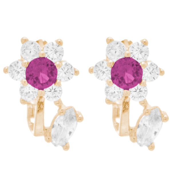 Yellow Gold Earrings with CZ - 14 K  - ER405