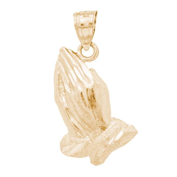 Yellow Gold Praying Hands Pendant - 14 K - PTR554  1.8 gr.