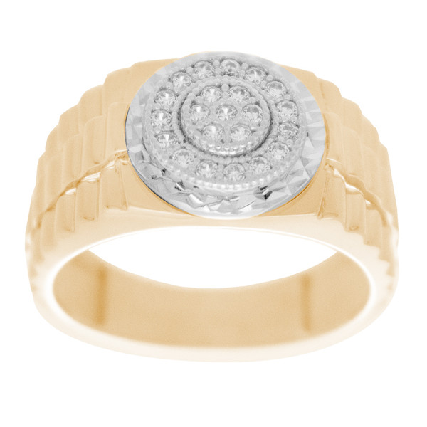 Yellow & White  Gold Ring with CZ - 14 K - RGO323  Yellow & White Gold ring decorated with CZ.  14K | 5.3 gr