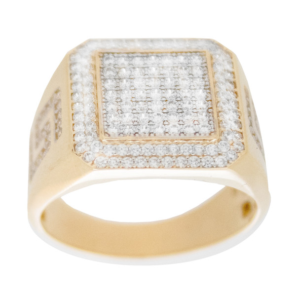 Yellow & White  Gold Ring with CZ - 14 K - RGO324  Yellow & White Gold ring decorated with CZ.  14K | 8.4 gr
