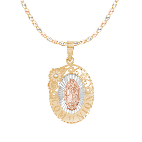 First Communion Gold Pendant and Chain Set - CZ - 14 K - JST369