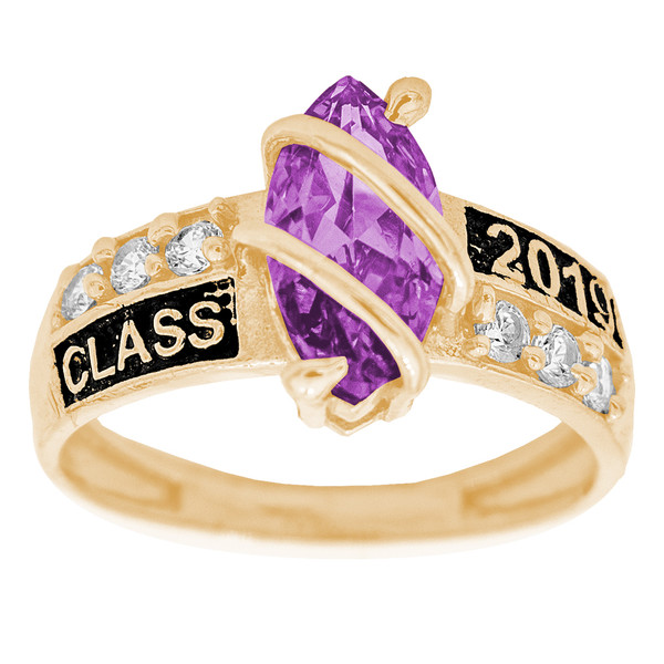 Graduation Ring / Yellow Gold / Birthstone - CZ - GDR224