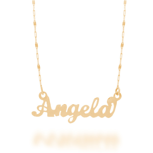 """Yellow Gold Name Plate with 18"""" Necklace - NMP-A"""