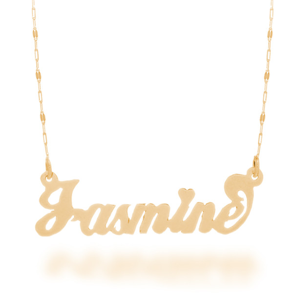 "Yellow Gold Name Plate with 20"" Necklace - NMP-B"