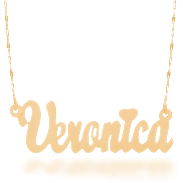 "Yellow Gold Name Plate with 20"" Necklace - NMP-C"