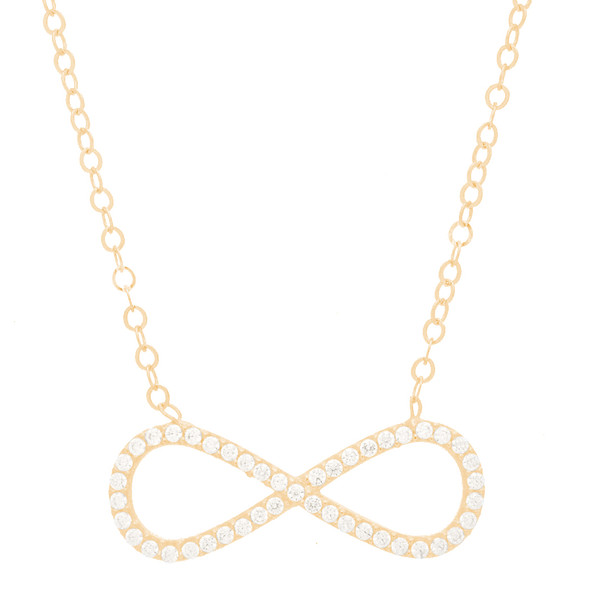 Yellow Gold Infinite Pendant and Chain Set - CZ - 14 K - JST377