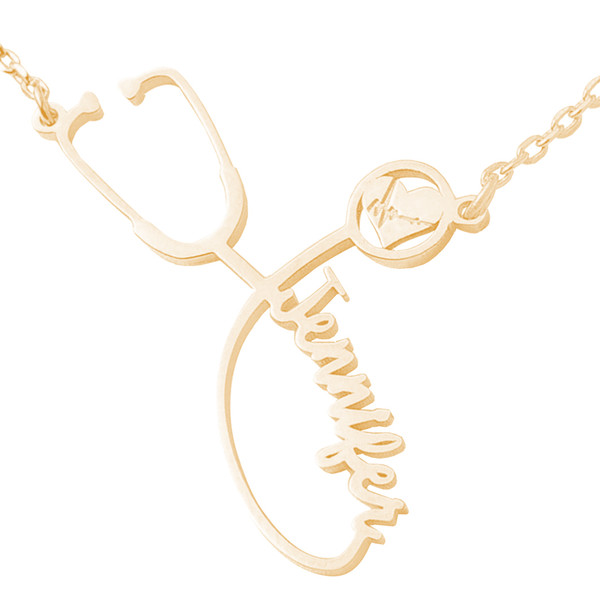 """Yellow Gold Stethoscope Name Plate with 18"""" Box Chain- NMP-S"""