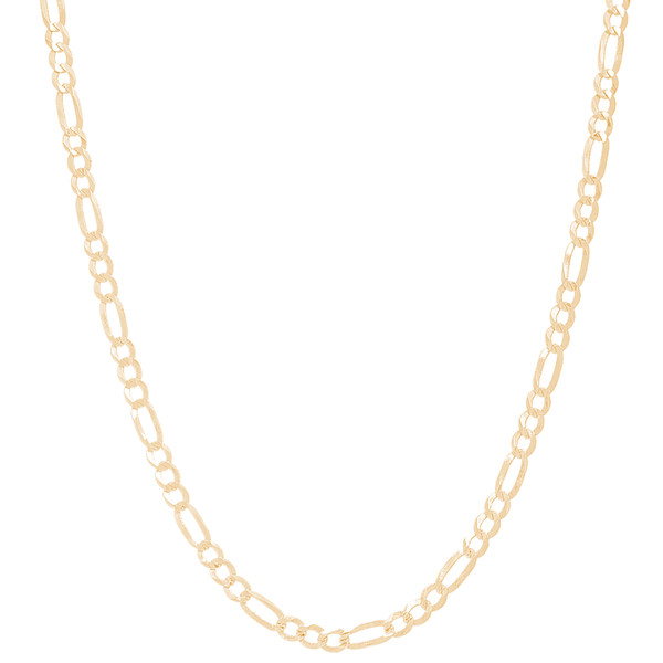 """3mm Solid Yellow Gold Figaro - 22"""", 24"""""""