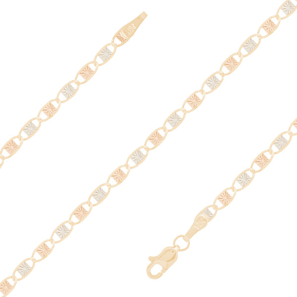 "2.7mm Tri-color Valentino ""Star Burst"" Baby Bracelet - 5"""