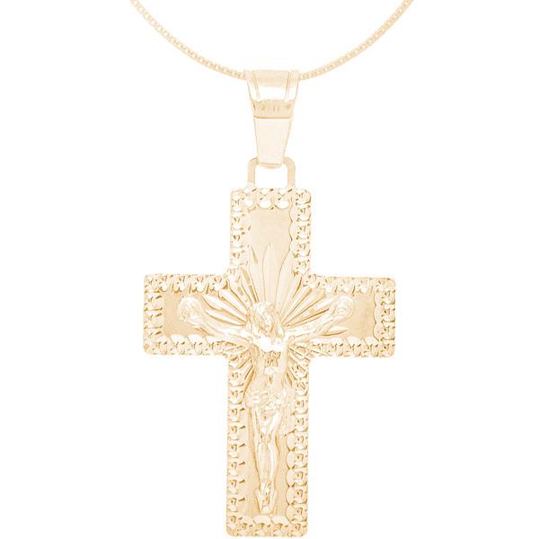 "Yellow Gold Cross Pendant with 18"" box chain Set - 14 K - JST408"