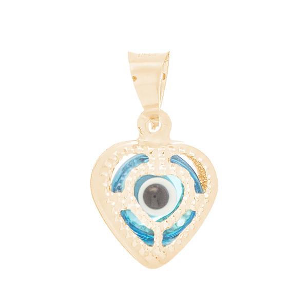 Yellow Gold Evil Eye Pendant  - Light Blue - 14 K - WEJ111