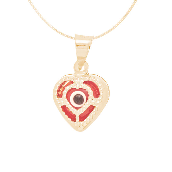 Yellow Gold Evil Eye Pendant  - Red - 14 K - WEJ112
