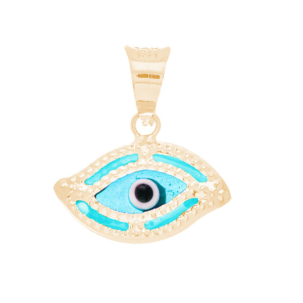Yellow Gold Evil Eye Pendant  - Light Blue - 14 K - WEJ118