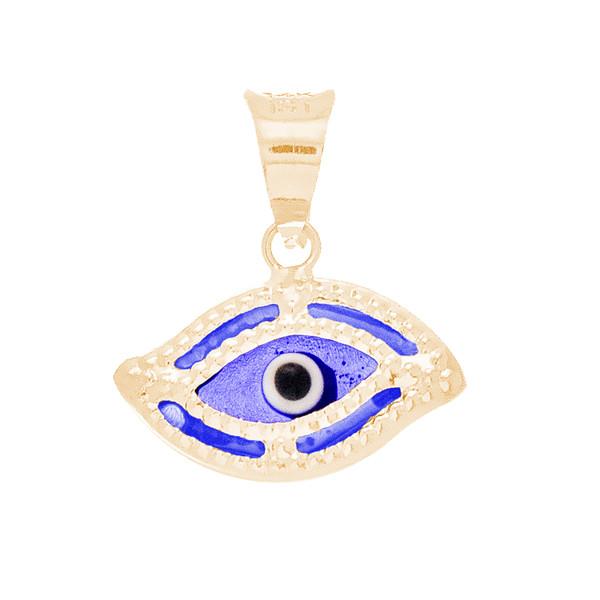 Yellow Gold Evil Eye Pendant  - Dark Blue - 14 K - WEJ119