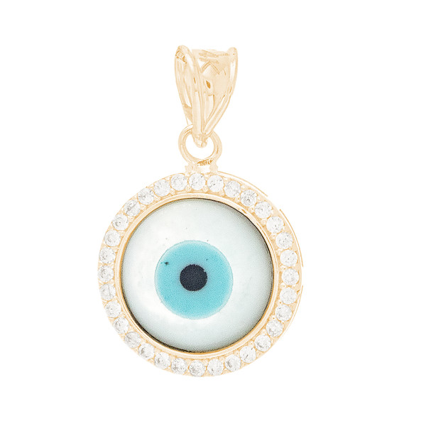 Yellow Gold  Mother of Pearl Evil Eye Pendant  - CZ - 14 K - WEJ126