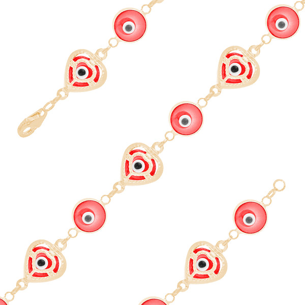 Yellow Gold Evil Eye Bracelet - Red - 14 K - BREE02