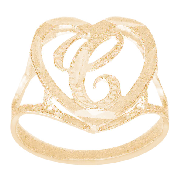 10kt Personalized Initial Heart Ring - RNG364-6