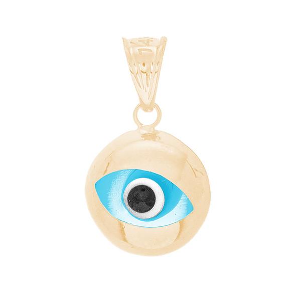 Yellow Gold Evil Eye Pendant - 14 K - WEJ139