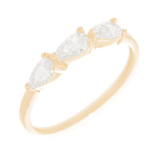 Yellow Gold Ring with CZ Stones - 14 K - RNG-PCZ1
