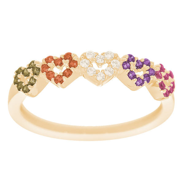 14kt Yellow Gold Ring with CZ Stones - RNG-44T3ROW