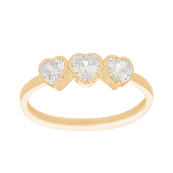 14kt Yellow Gold 3 Heart Ring - CZ - RNG-44INC56